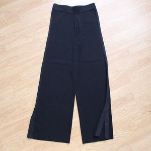 ZARA Black Ribbed Knit Wide Leg Pants - Size Large